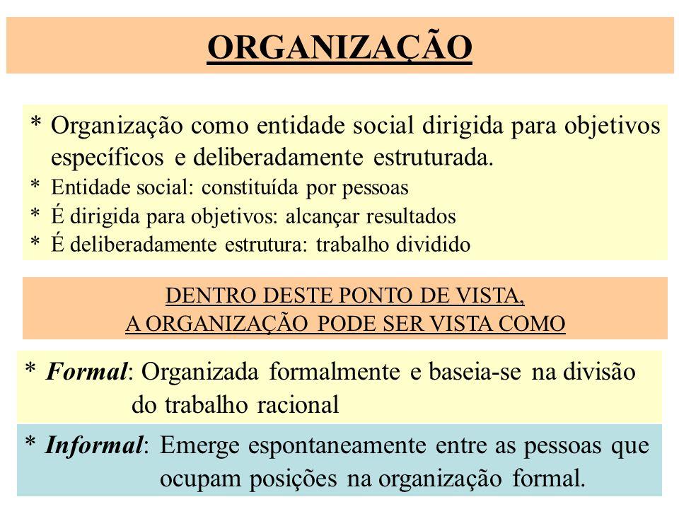 ORGANIZAÇÃO * Organização como entidade social dirigida para objetivos específicos e deliberadamente estruturada.
