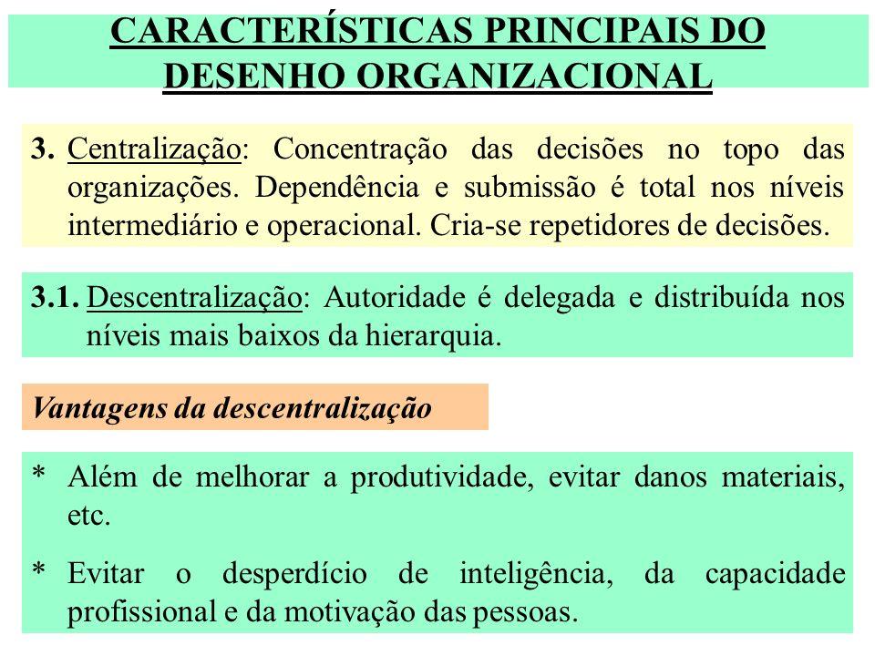 CARACTERÍSTICAS PRINCIPAIS DO DESENHO ORGANIZACIONAL