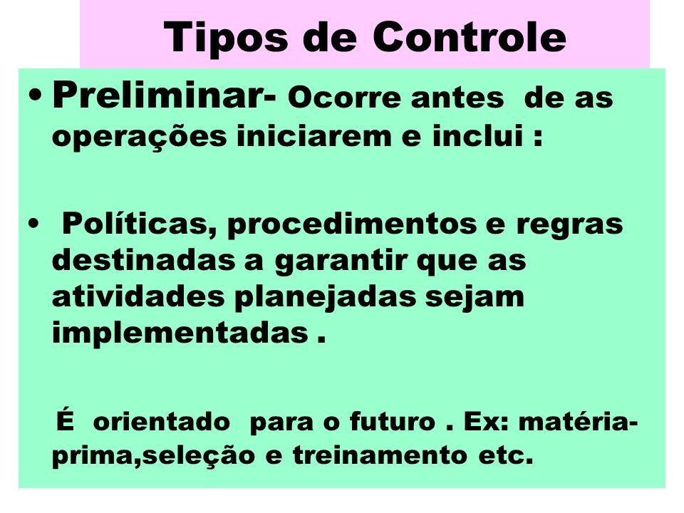 Tipos de Controle Preliminar- Ocorre antes de as operações iniciarem e inclui :