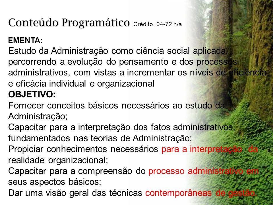 Conteúdo Programático Crédito. 04-72 h/a