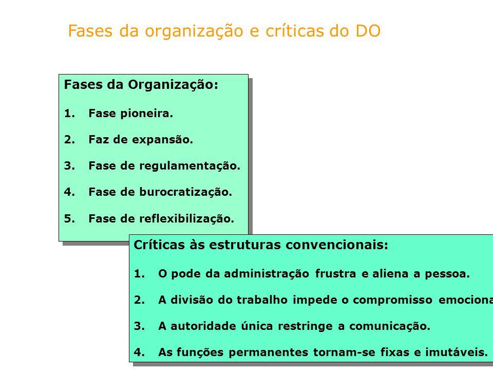 Fases da organização e críticas do DO