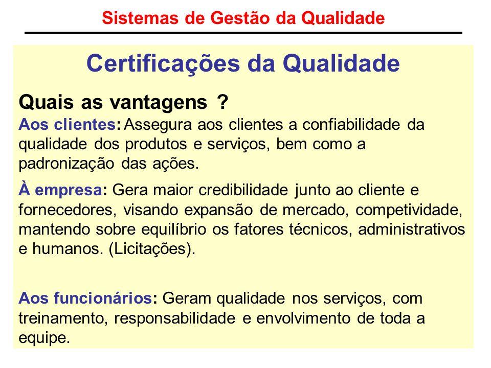 Sistemas de Gestão da Qualidade Certificações da Qualidade