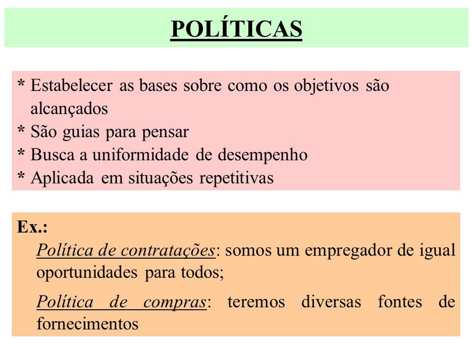 POLÍTICAS * Estabelecer as bases sobre como os objetivos são