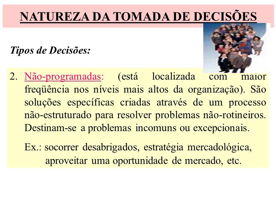 NATUREZA DA TOMADA DE DECISÕES