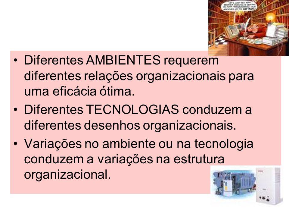 Diferentes AMBIENTES requerem diferentes relações organizacionais para uma eficácia ótima.