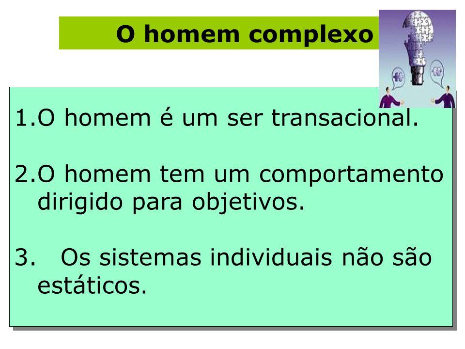 O homem complexo O homem é um ser transacional. O homem tem um comportamento dirigido para objetivos.