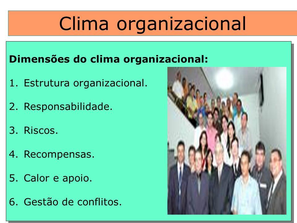 Clima organizacional Dimensões do clima organizacional: