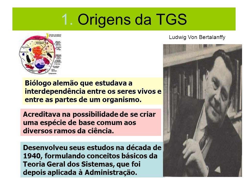 1. Origens da TGS Ludwig Von Bertalanffy. Biólogo alemão que estudava a interdependência entre os seres vivos e entre as partes de um organismo.