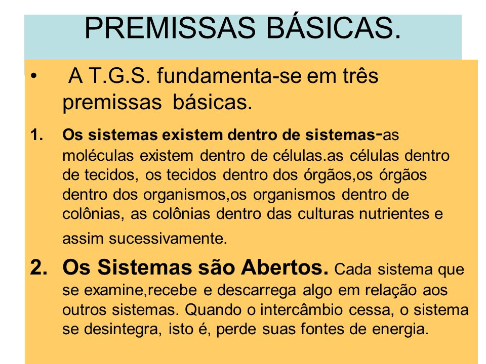 PREMISSAS BÁSICAS. A T.G.S. fundamenta-se em três premissas básicas.