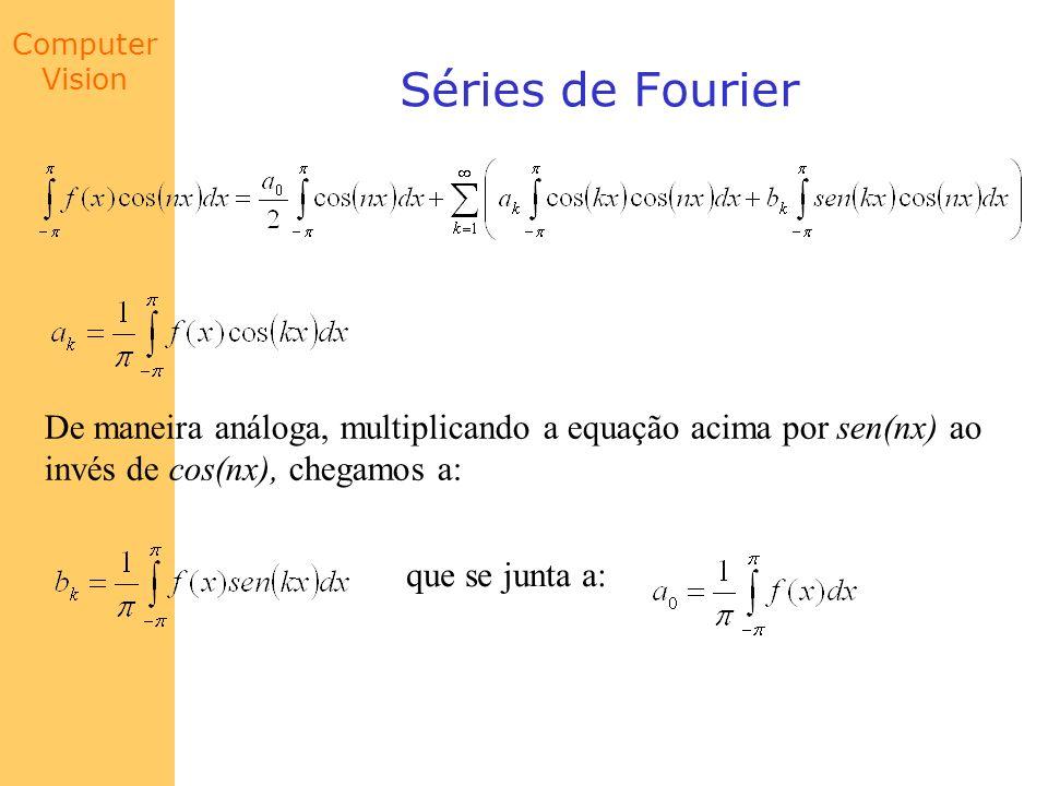 Séries de Fourier De maneira análoga, multiplicando a equação acima por sen(nx) ao. invés de cos(nx), chegamos a: