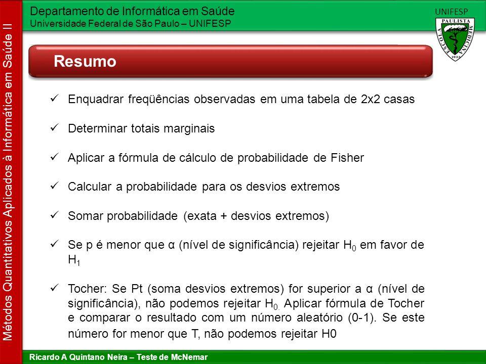 Resumo Enquadrar freqüências observadas em uma tabela de 2x2 casas
