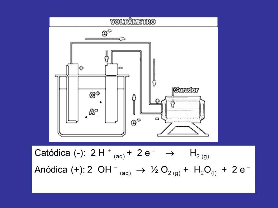 Catódica (-): 2 H + (aq) + 2 e –  H2 (g)