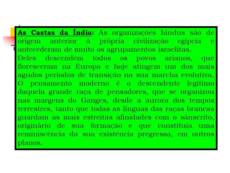 As Castas da Índia: As organizações hindus são de origem anterior à própria civilização egípcia e antecederam de muito os agrupamentos israelitas.