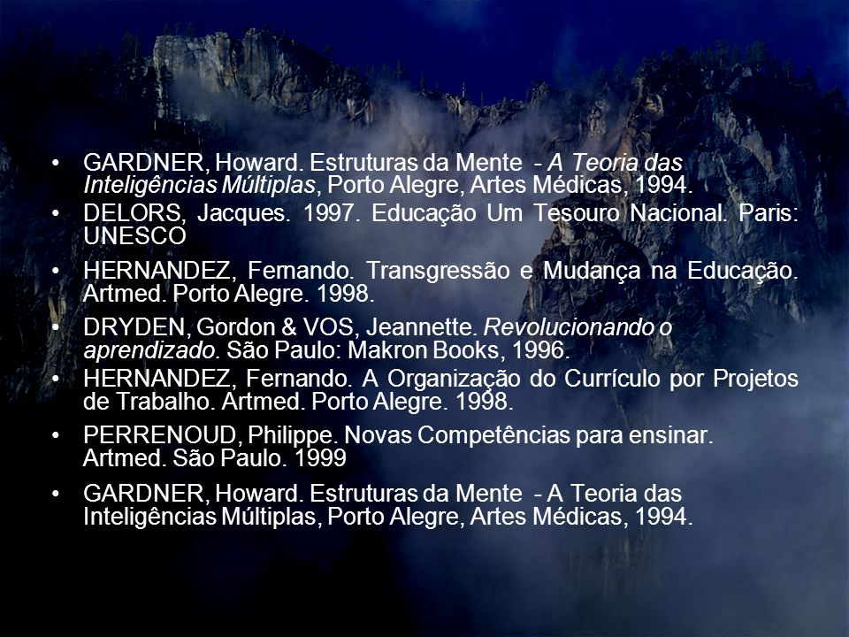 GARDNER, Howard. Estruturas da Mente - A Teoria das Inteligências Múltiplas, Porto Alegre, Artes Médicas, 1994.