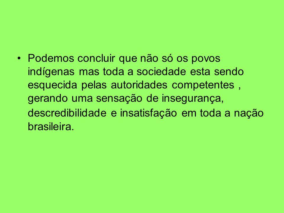 Podemos concluir que não só os povos indígenas mas toda a sociedade esta sendo esquecida pelas autoridades competentes , gerando uma sensação de insegurança, descredibilidade e insatisfação em toda a nação brasileira.