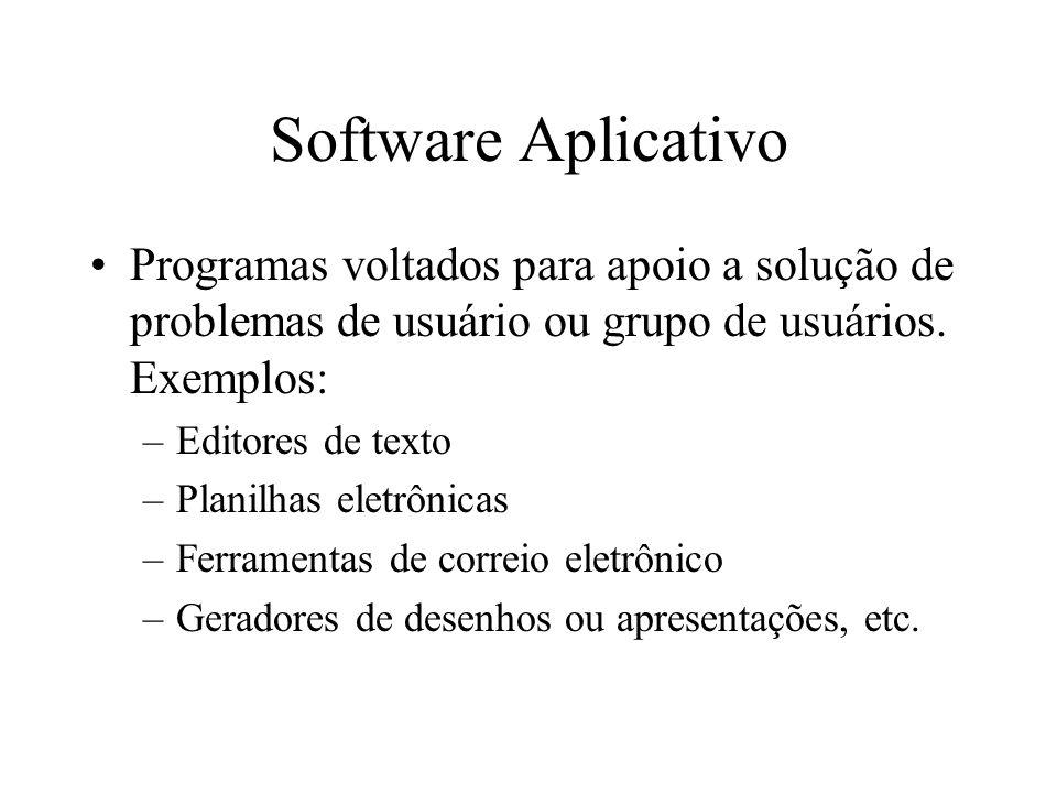 Software Aplicativo Programas voltados para apoio a solução de problemas de usuário ou grupo de usuários. Exemplos: