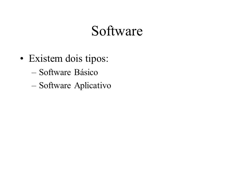 Software Existem dois tipos: Software Básico Software Aplicativo