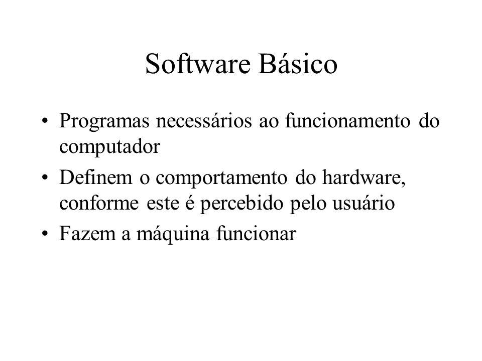 Software Básico Programas necessários ao funcionamento do computador
