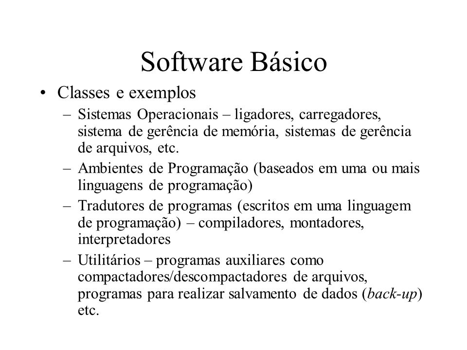 Software Básico Classes e exemplos
