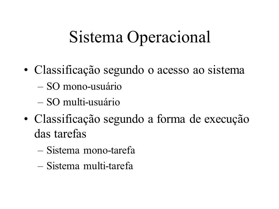 Sistema Operacional Classificação segundo o acesso ao sistema