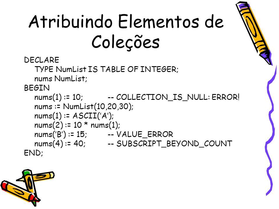 Atribuindo Elementos de Coleções
