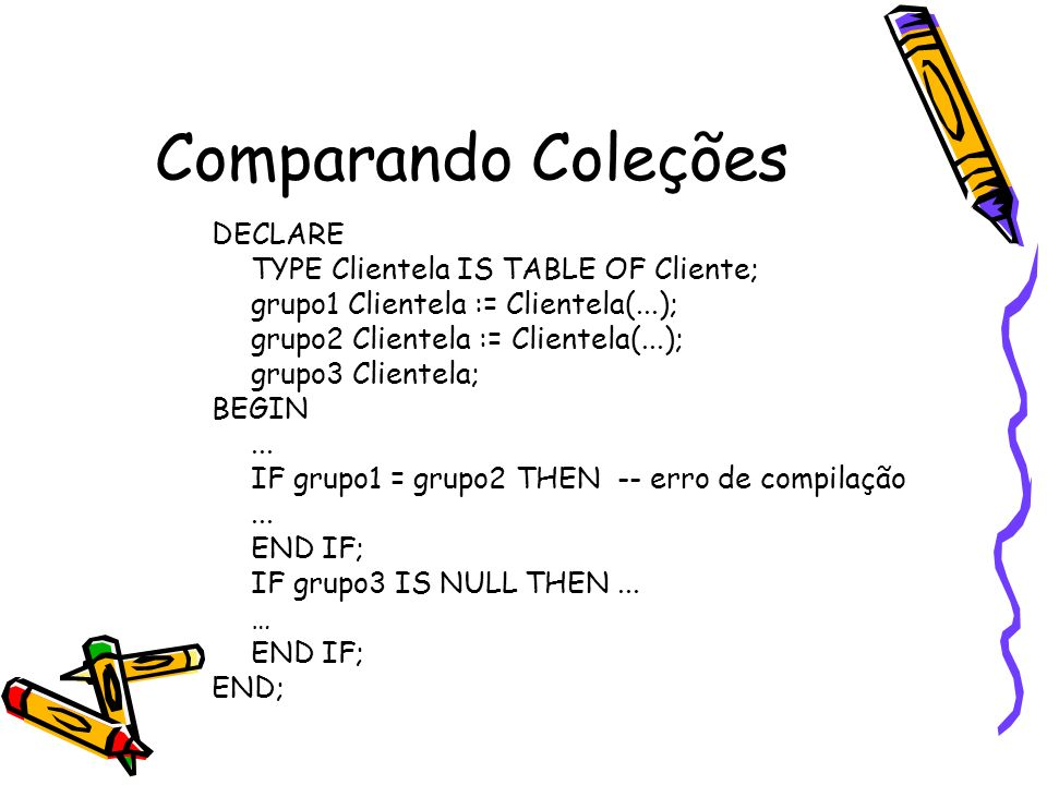 Comparando Coleções DECLARE TYPE Clientela IS TABLE OF Cliente;