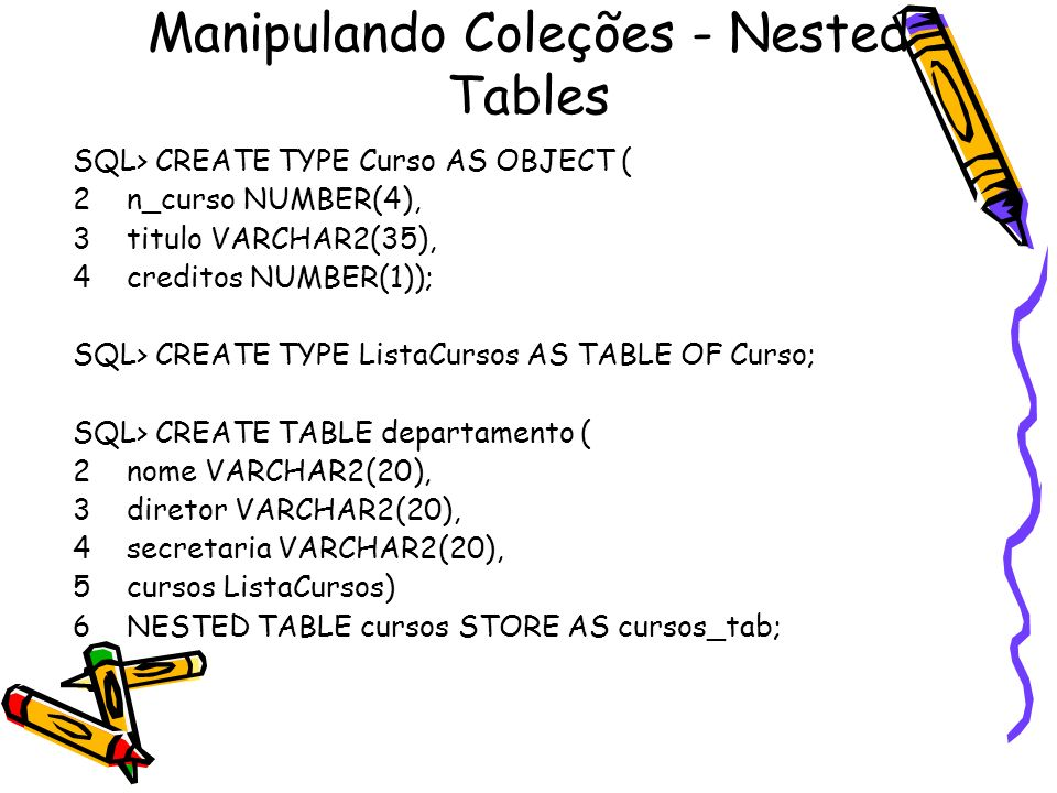 Manipulando Coleções - Nested Tables