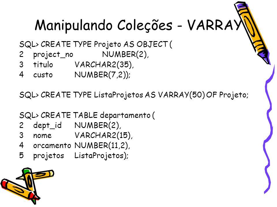 Manipulando Coleções - VARRAY