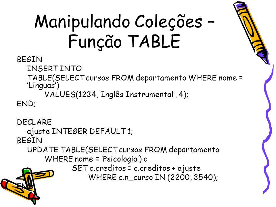 Manipulando Coleções – Função TABLE