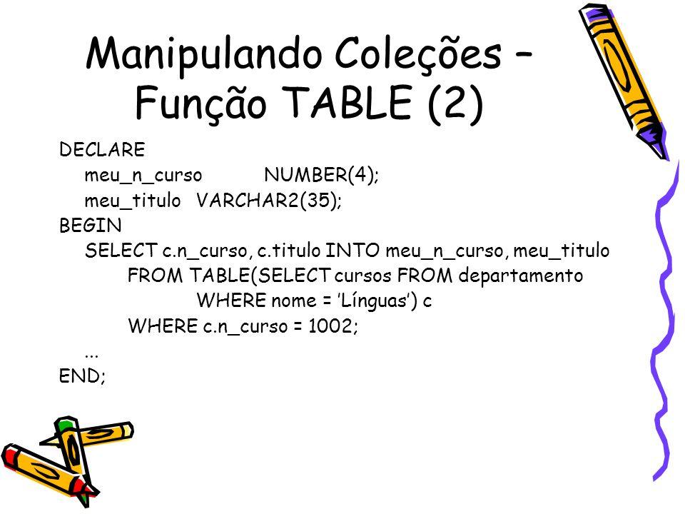 Manipulando Coleções – Função TABLE (2)