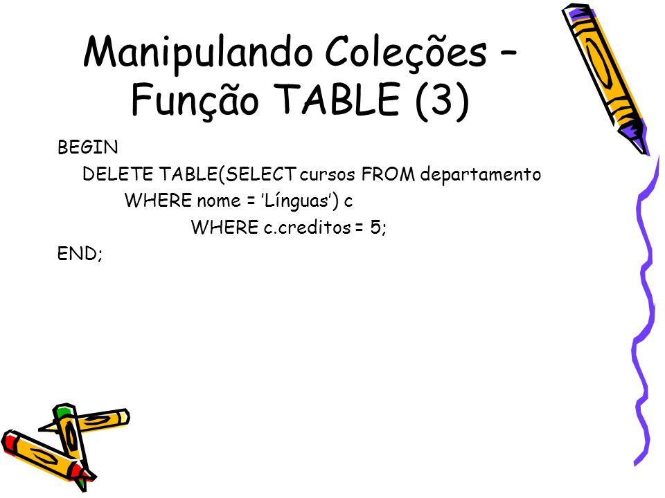 Manipulando Coleções – Função TABLE (3)