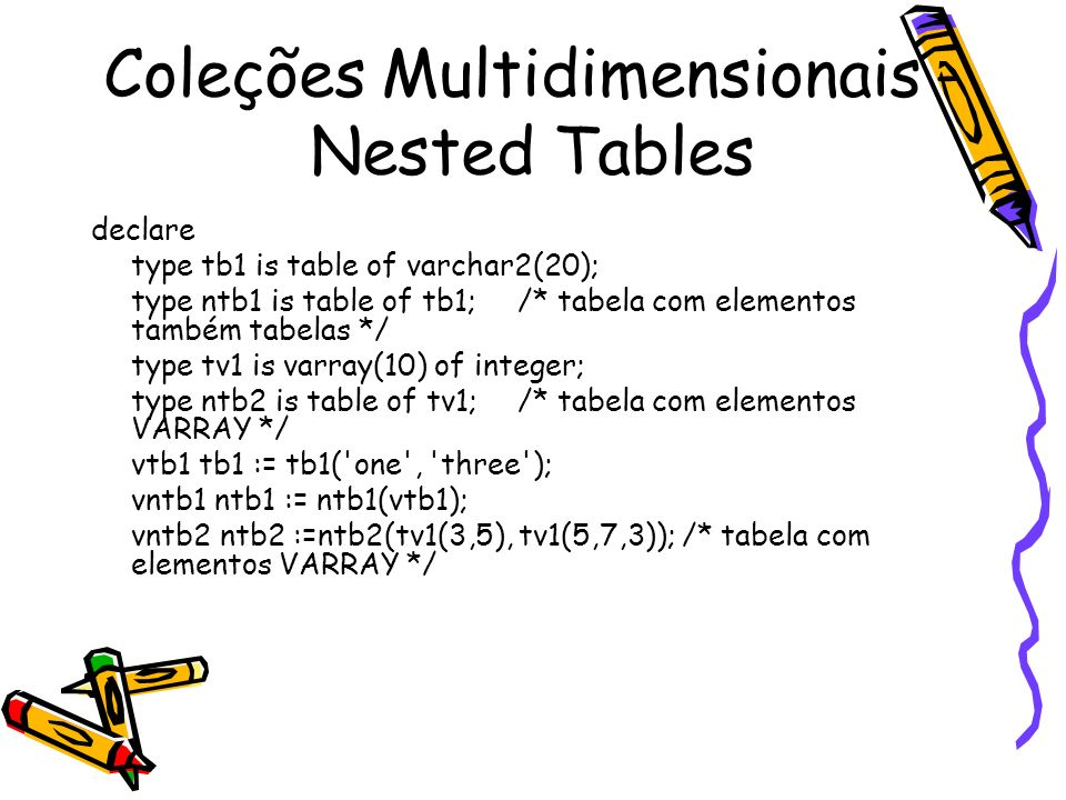 Coleções Multidimensionais - Nested Tables