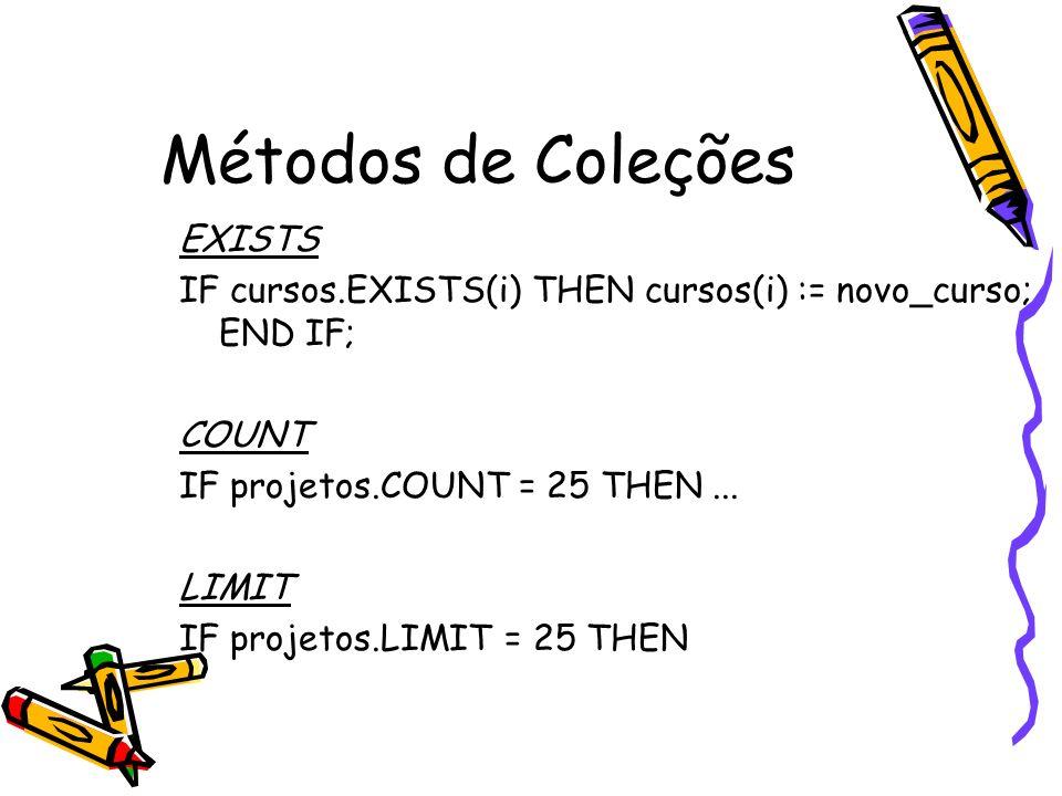 Métodos de Coleções EXISTS