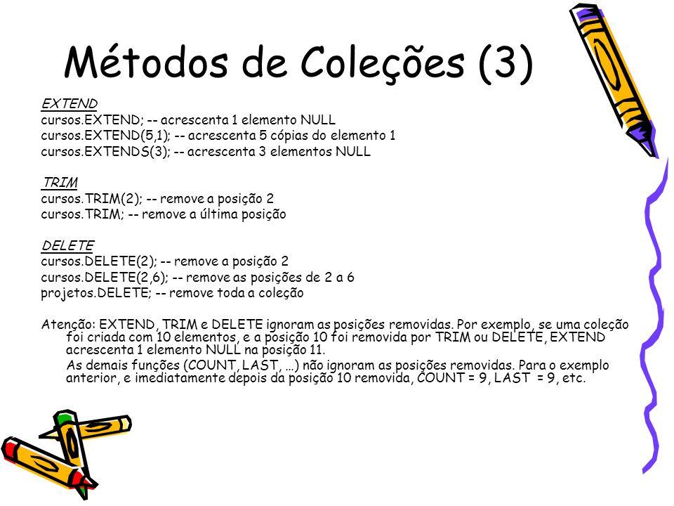 Métodos de Coleções (3) EXTEND