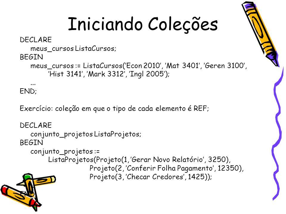 Iniciando Coleções DECLARE meus_cursos ListaCursos; BEGIN