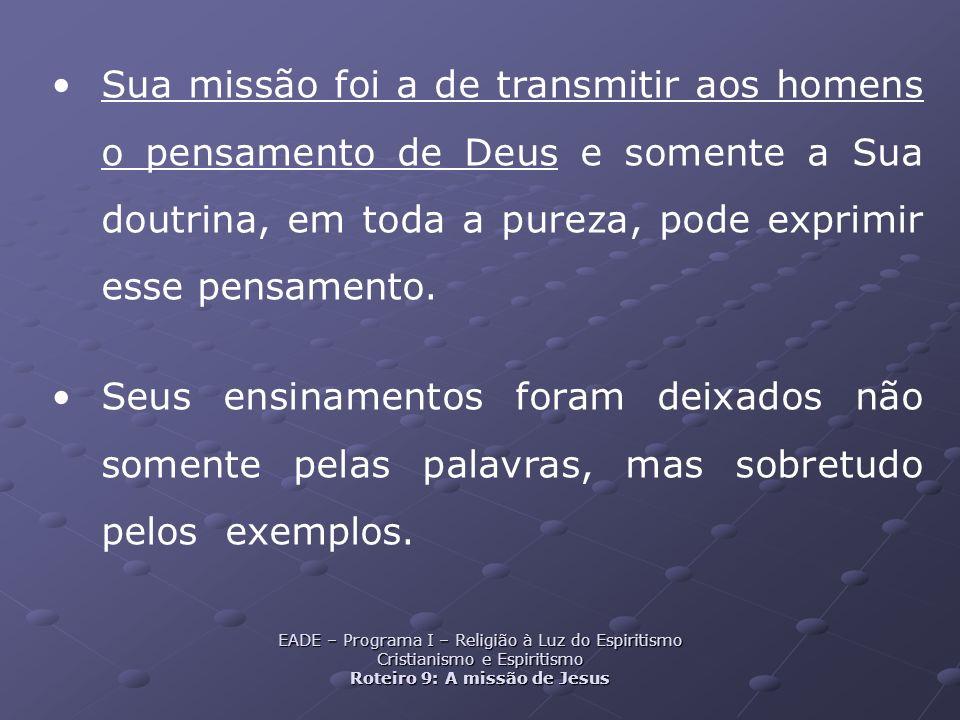Sua missão foi a de transmitir aos homens o pensamento de Deus e somente a Sua doutrina, em toda a pureza, pode exprimir esse pensamento.