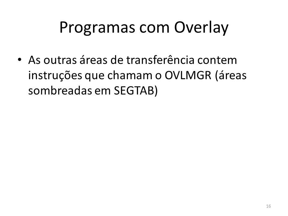 Programas com Overlay As outras áreas de transferência contem instruções que chamam o OVLMGR (áreas sombreadas em SEGTAB)