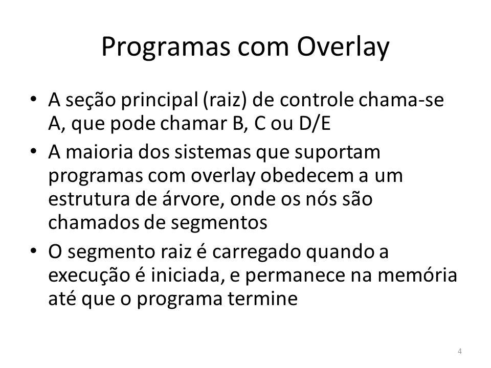 Programas com Overlay A seção principal (raiz) de controle chama-se A, que pode chamar B, C ou D/E.