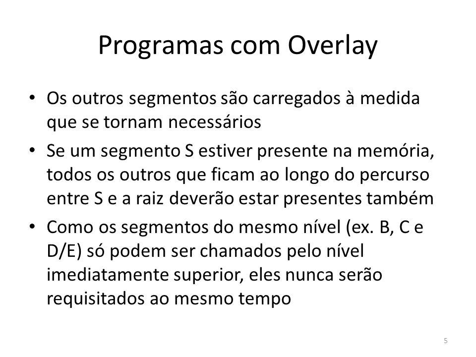Programas com Overlay Os outros segmentos são carregados à medida que se tornam necessários.