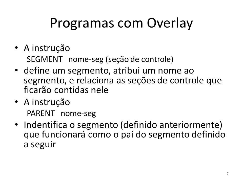 Programas com Overlay A instrução