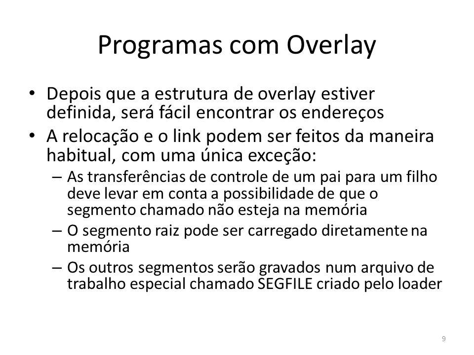Programas com Overlay Depois que a estrutura de overlay estiver definida, será fácil encontrar os endereços.
