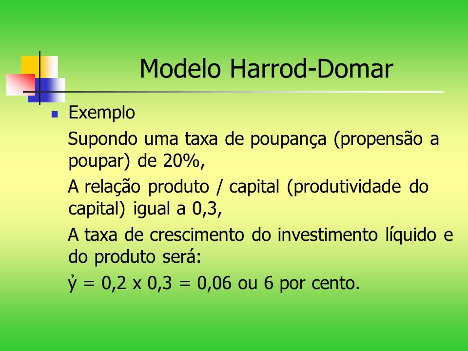 Modelo Harrod-Domar Exemplo