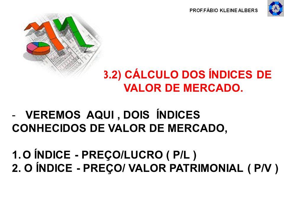 3.2) CÁLCULO DOS ÍNDICES DE VALOR DE MERCADO.