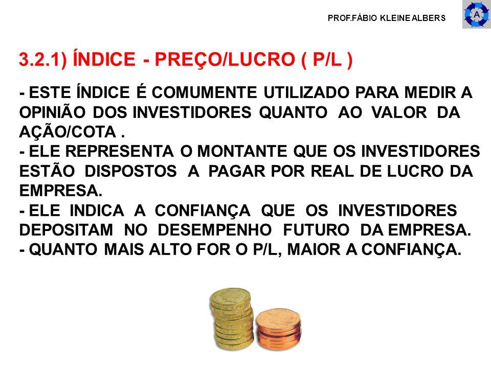3.2.1) ÍNDICE - PREÇO/LUCRO ( P/L )