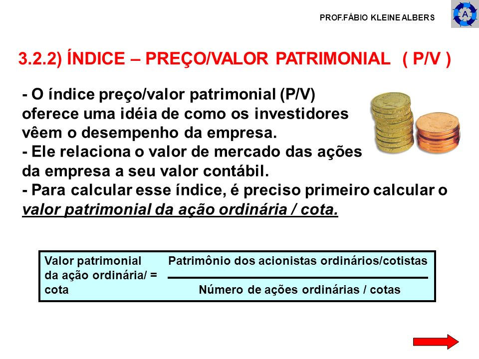 3.2.2) ÍNDICE – PREÇO/VALOR PATRIMONIAL ( P/V )