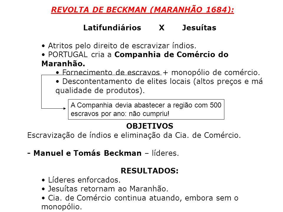 REVOLTA DE BECKMAN (MARANHÃO 1684): Latifundiários X Jesuítas