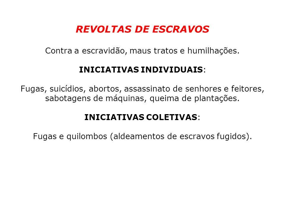REVOLTAS DE ESCRAVOS Contra a escravidão, maus tratos e humilhações.