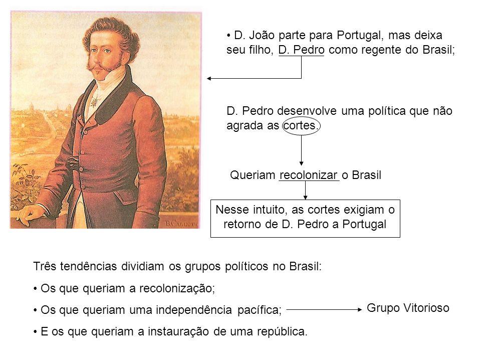 Nesse intuito, as cortes exigiam o retorno de D. Pedro a Portugal