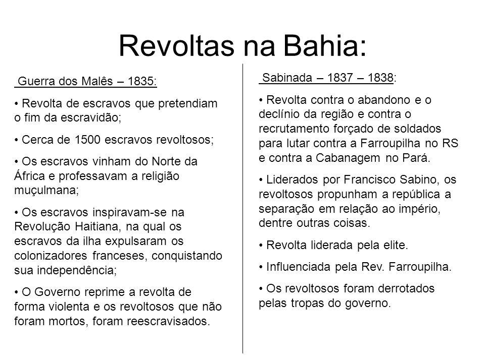 Revoltas na Bahia: Sabinada – 1837 – 1838: Guerra dos Malês – 1835: