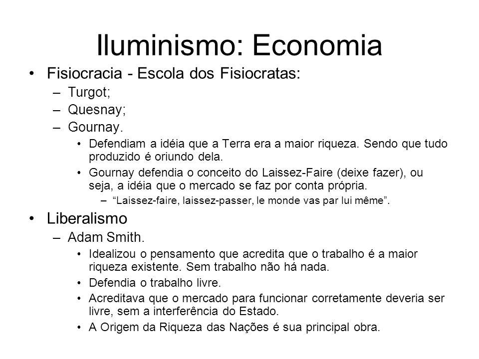 Iluminismo: Economia Fisiocracia - Escola dos Fisiocratas: Liberalismo